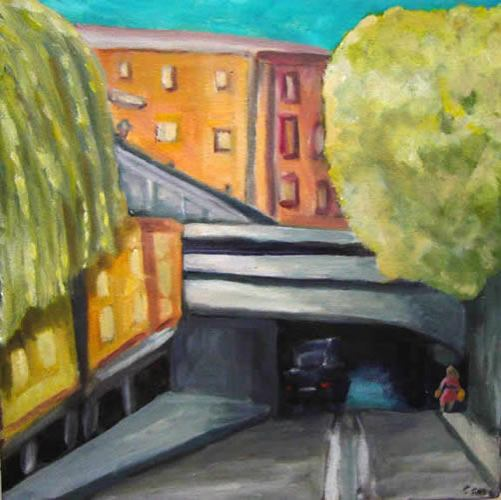 City Street, by AOM subscriber Gretchen Gold. Art Opportunities Monthly lists art competitions, art shows, grants, fellowships, public art commissions and other sources of money for artists working in all media, styles and geographic locations.