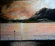 M° Prof. Pietro Sacchero (Peke) Moltrasio Lungo Lago, 2009, olio su tela, 39.375 x 47.25 in.